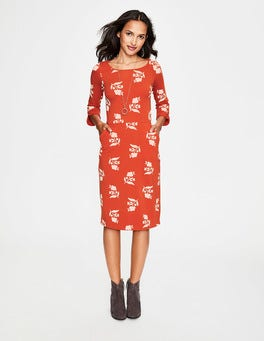Red Pop Meadow Motif Jessie Jersey Dress