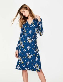 Riviera Blue Tulip Wrap Jersey Dress