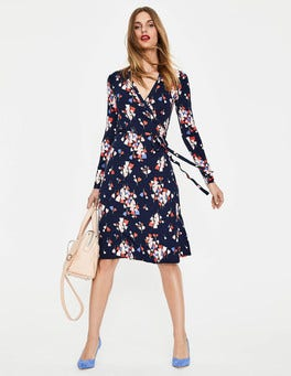 Navy Tulip Wrap Jersey Dress
