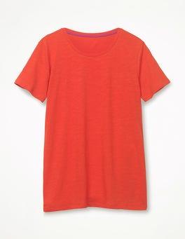 Knalliges Rot Basic-T-Shirt mit Rundhalsausschnitt