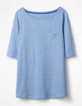 Hazy Blue The Cotton Boat Neck Tee
