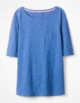 Klein Blue/Ivory The Cotton Boat Neck Tee