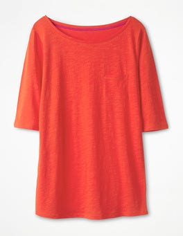 Red Pop The Cotton Boat Neck Tee