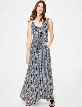 Navy Pompom Spot Diana Jersey Maxi Dress