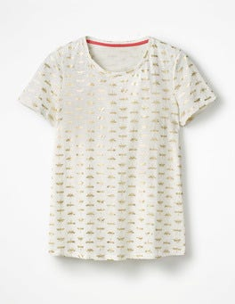 Gold Foil Dragonfly Printed Crew Neck Tee