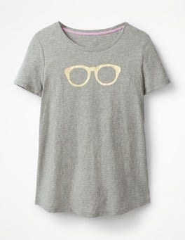 Grey Marl Gold Glasses Printed Crew Neck Tee