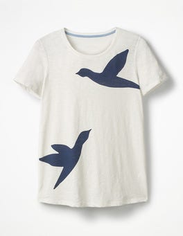 Ivory Birds Printed Crew Neck Tee