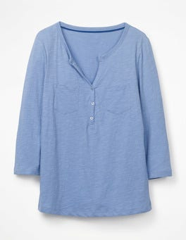 Hazy Blue The Cotton Henley Tee