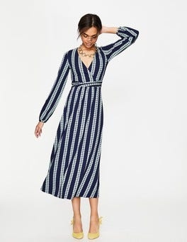 Navy Stripe Spot Hayden Jersey Dress