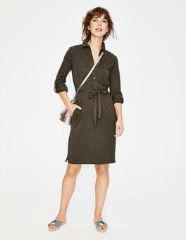 Khaki Jena Jersey Shirt Dress