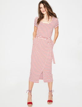 Ivory/Red Pop Hallie Jersey Dress