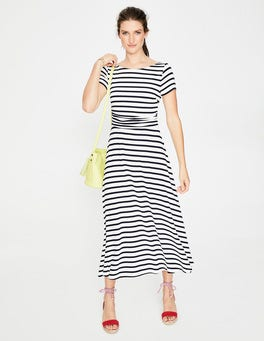 Ivory/Navy Stripe Valerie Jersey Dress