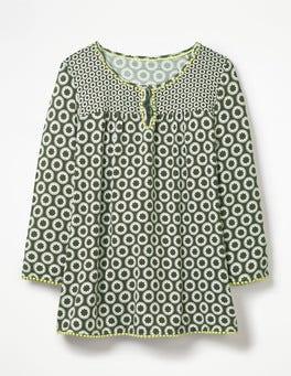 Khaki, Bommel und Tupfen Tessa Jerseyshirt