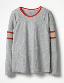 Grey Marl/Gold Foil Allie Jersey Tee