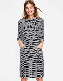 Navy/Ivory Spot Jacquard Sarah Jacquard Dress