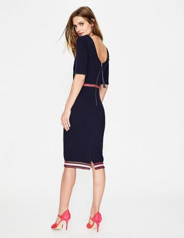 Navy/Multi Stripe Kaia Ottoman Dress