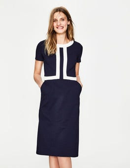 Navy/Ivory Joan Ponte Dress