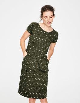 Khaki/Ivory Spot Phoebe Jersey Dress