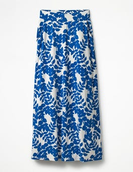Klein Blue Leaves Jersey Maxi Skirt