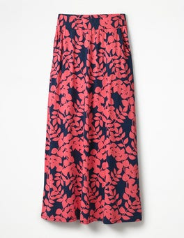Coral Sunset Pink Leaves Jersey Maxi Skirt