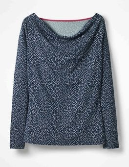 Navy Daisy Kitty Cowl Neck Top