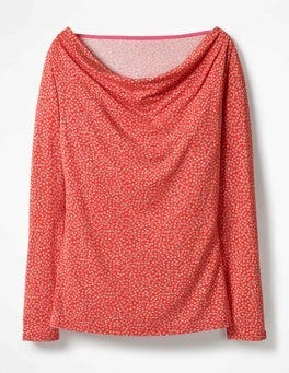 Red Pop Daisy Kitty Cowl Neck Top