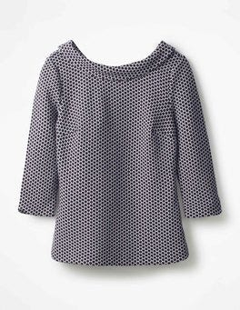 Navy Sarah Jacquard Top