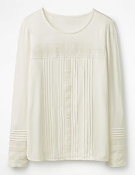 Ivory Pleated Jersey Top