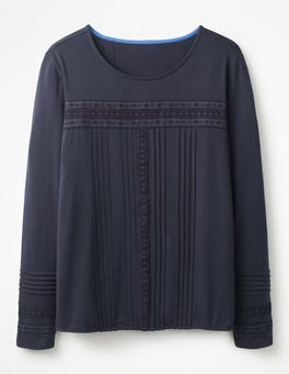 Navy Pleated Jersey Top