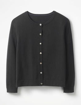 Black Favourite Crop Crew Cardigan