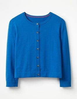China Blue Favourite Crop Crew Cardigan