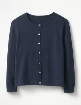 Navy Favourite Crop Crew Cardigan