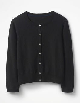 Black Cashmere Crop Crew Cardigan
