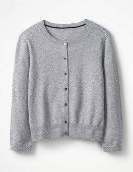 Grey Melange Cashmere Crop Crew Cardigan