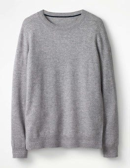 Grey Melange Cashmere Crew Sweater