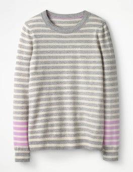 Grey Melange/Rosebay Stripe Cashmere Crew Sweater