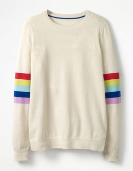 Ivory Rainbow/Multi Stripe Cashmere Crew Sweater