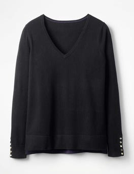 Black Tilly V-neck Sweater