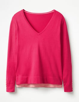 Carnival Pink Tilly V-neck Sweater
