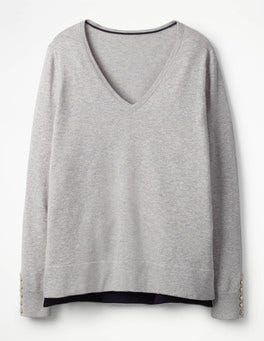 Silver Melange Tilly V-neck Jumper