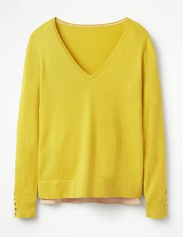 Mimosa Yellow Tilly V-Neck Sweater
