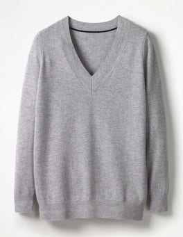 Grey Melange Cashmere Relaxed V-neck Jumper