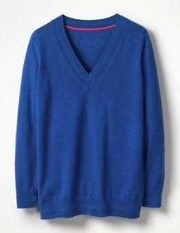 Klein Blue Cashmere Relaxed VNeck Sweater