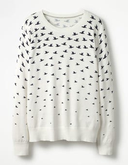 Ivory Birds Printed Sweater