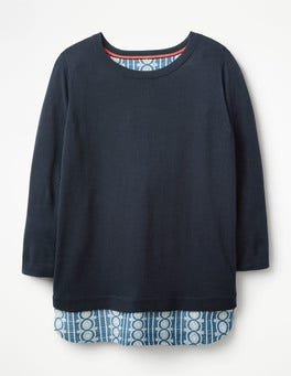 Navy Nora Woven Mix Sweater