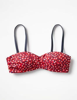 Indie Red Multi Spot Amalfi Bandeau Bikini Top