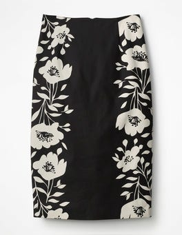 Black Poppy Placement Richmond Pencil Skirt