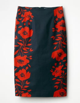 Navy Poppy Placement Richmond Pencil Skirt