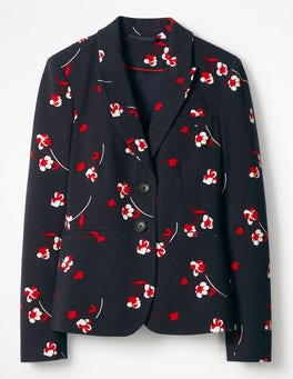 Navy, Wildflower Scattered Elizabeth Ponte Blazer