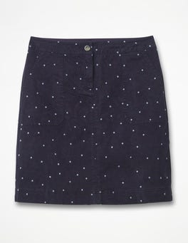 Navy with Hazy Sky Spot Chino Skirt